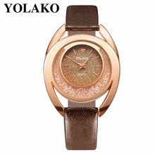Best Selling Women Rhinestone Watch Fashion Luxury Leather Clock Female Dress Quartz Wrist Watch YOLAKO Brand Relogio Feminino