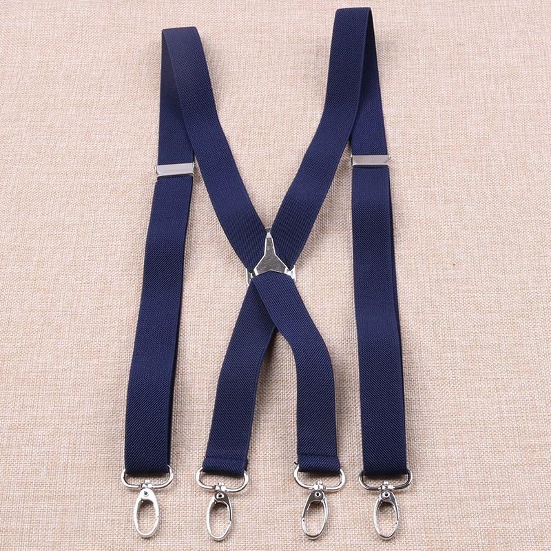 2.5cm Width Unisex Adult Suspenders Men 4 Hooks Suspender Adjustable Elastic X Back Women Braces Solid Color