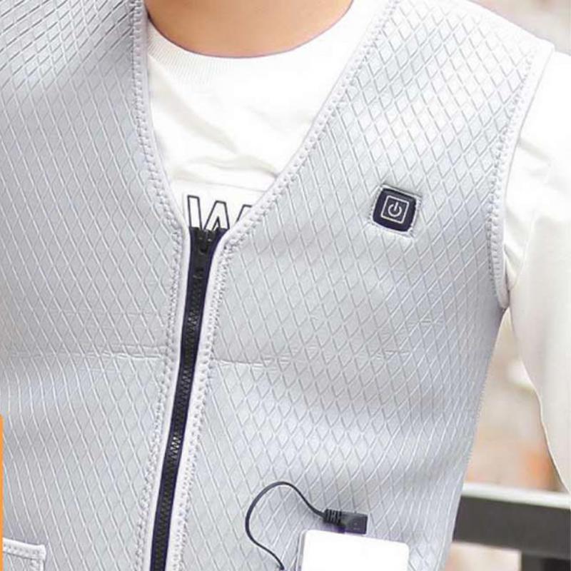 Image 3 - للجنسين USB التدفئة الكهربائية سترة قابل للتعديل درجة الحرارة التدفئة سترة صدرية التدفئة الدافئة سترة-في سترات وصدريات من ملابس الرجال على AliExpress
