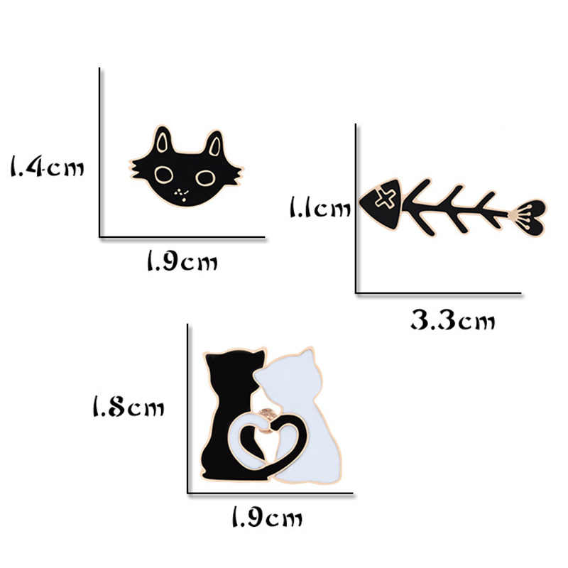 Zak Zwart Wit Kat Trui Broche Sjaal Visgraten 1 Pc Rok Paar Dier Hoed Cartoon Voor Vrouwen Mannen Shirts revers Pin Badge