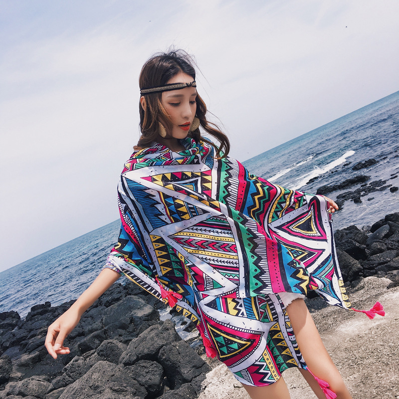 LEAYH Stylish Style Geometric Pattern Large Scarf Female Cotton Air Conditioning Room Shawls Sea Sunscreen Scarves Head Wraps in Women 39 s Scarves from Apparel Accessories