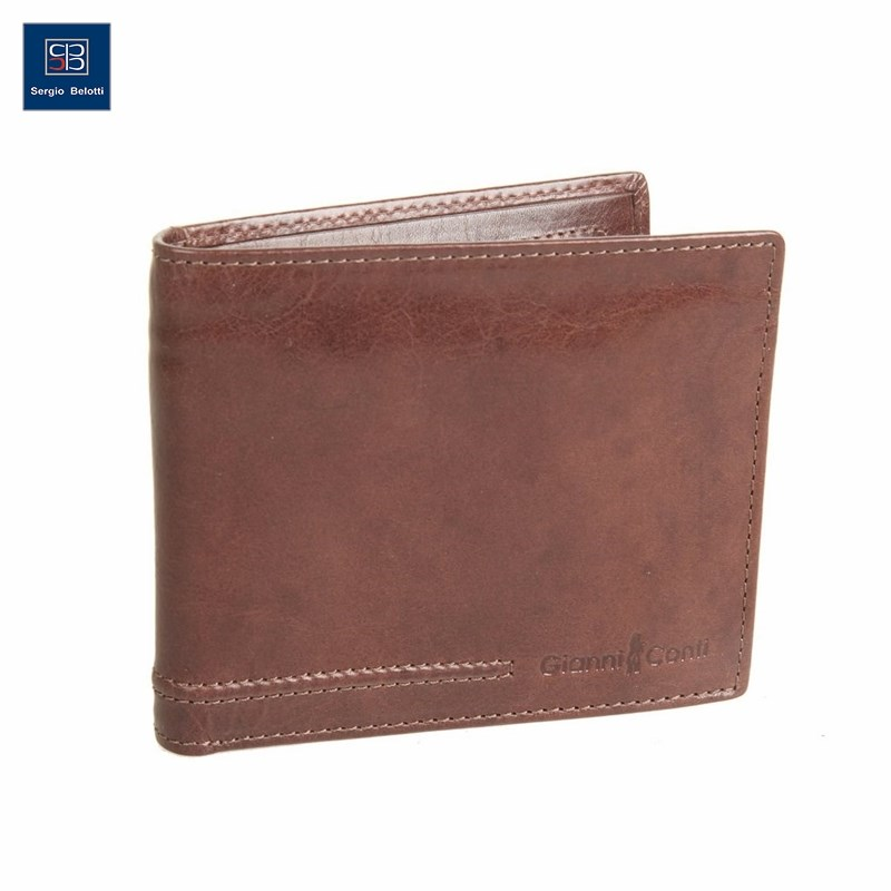 Coin Purse Gianni Conti 707460 Brown simline vintage genuine crazy horse cow leather men men s long hasp wallet wallets purse zipper coin pocket holder with chain