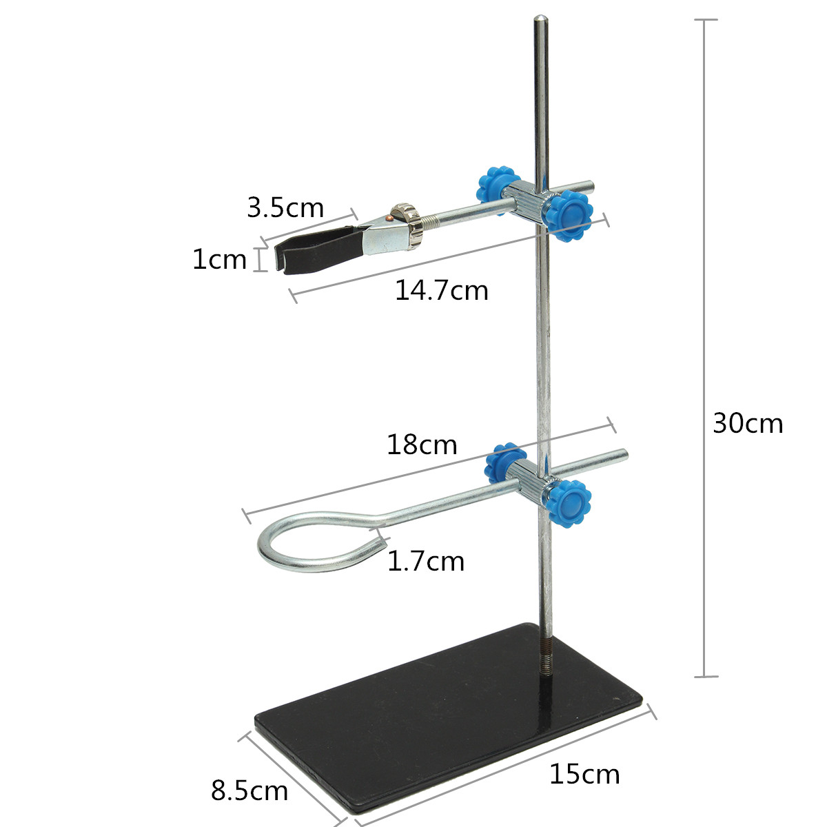 Kicute 1pcs 30cm High Retort StandIron Stand With Clamp Clip Laboratory Ring Stand Equipment Lab School Education Supplies