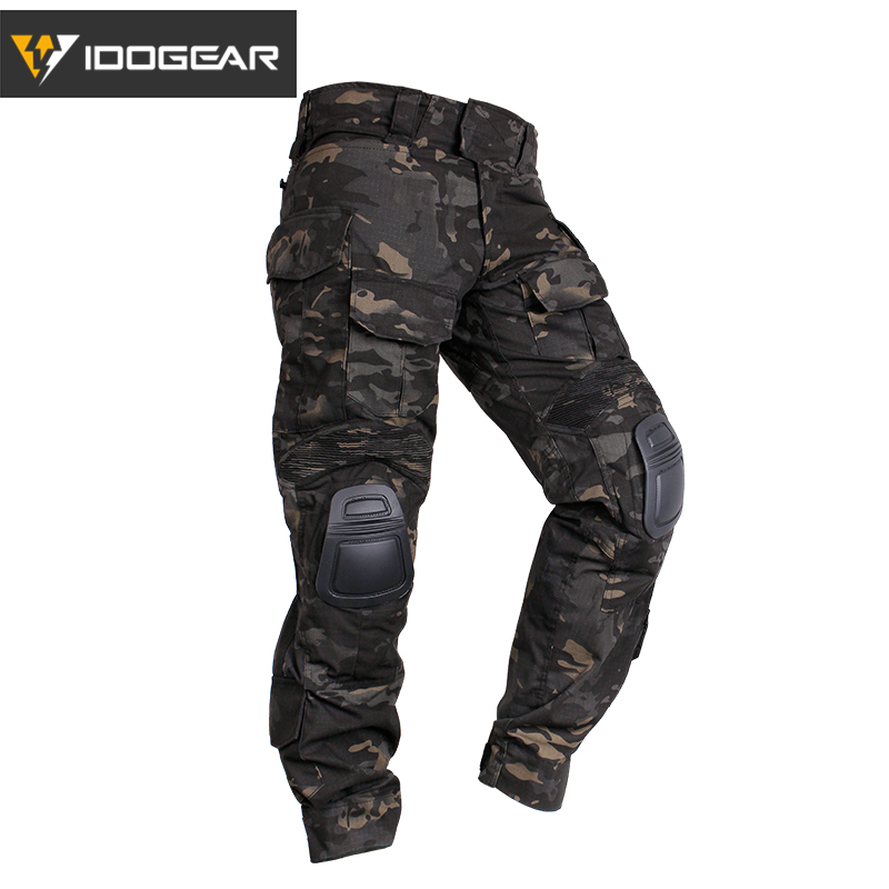 47c678b6239c3 IDOGEAR Tactical G3 Pants with Knee Pads Airsoft Trousers MultiCam CP gen3  Hunting Camouflage black 3201