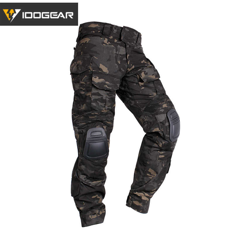 7e3ee6114bb24 IDOGEAR Tactical G3 Pants with Knee Pads Airsoft Trousers MultiCam CP gen3  Hunting Camouflage black 3201