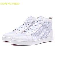Мужская обувь; белые спортивные туфли на шнуровке; высококачественные кроссовки с красной подошвой; кожаные лоферы; коллекция 2018 года; Мужс