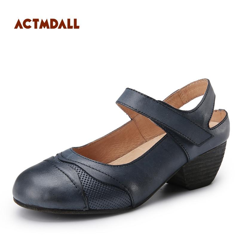 Véritable De Dark Femmes Vintage Conception Cuir Chaussures Originale Wedge kaki Moyen En Baotou Blue D'été Sandales Talon 2019 SqpwZdq7x