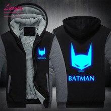 Прямая доставка США размеры для мужчин's толстовки Бэтмен люминесцентный светящийся пальто для будущих мам зимние теплые флисовые человек куртк