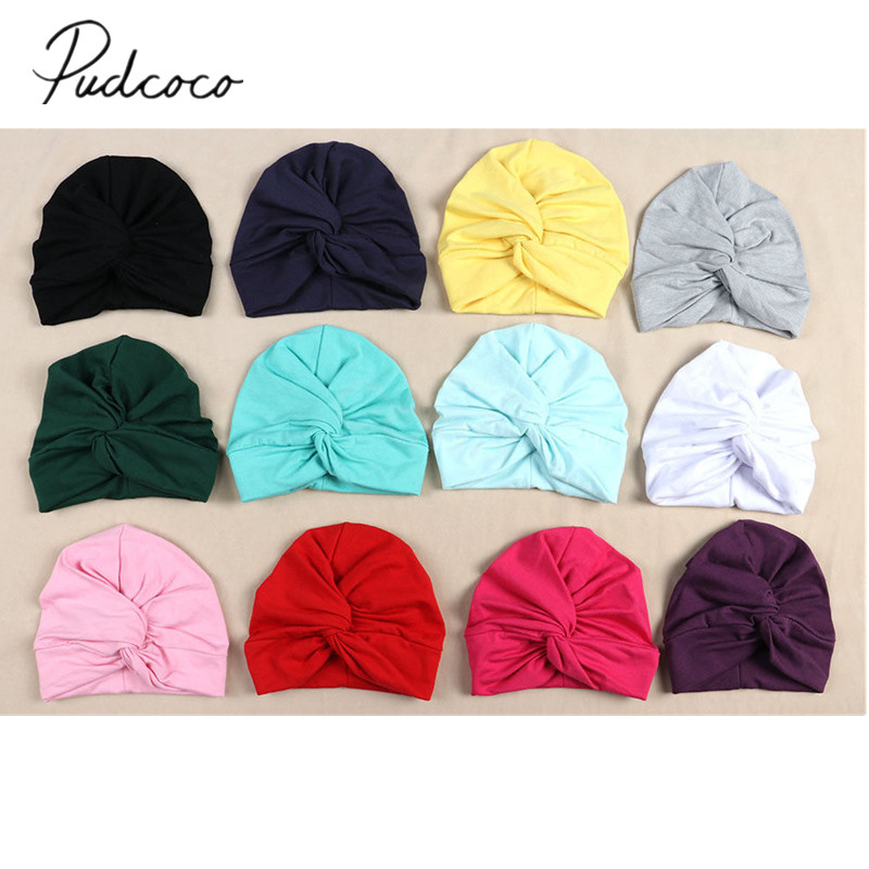 2019 Brand New Newborn Infant Baby Turban Toddler Kids Boy Girl Cotton Blends Hat Lovely Soft Cute Solid Knot Beanies Baby Gifts