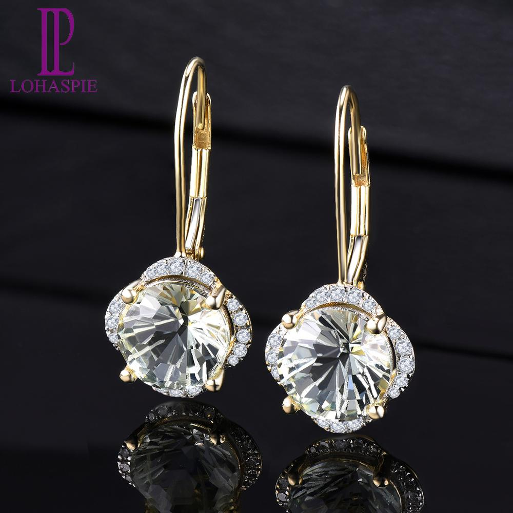 LP Solid 14 Karats Yellow Gold Diamond Earrings Natural Green Amethyst 3.79CT Special Daisy Cutting Fine Gemstone Jewelry