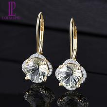 LP Solid 14KY Gold Diamond Earrings Natural Green Amethyst 3.79CT Special Daisy cutting Fine Fashion Gemstone Jewelry For Gift цены онлайн