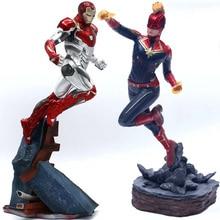 Vengadores capitán Marvel 22-27 cm Thanos ironman spiderman Deadpool Danvers estatua KO Iron Studios de acción | PVC figuras de acción juguete figura