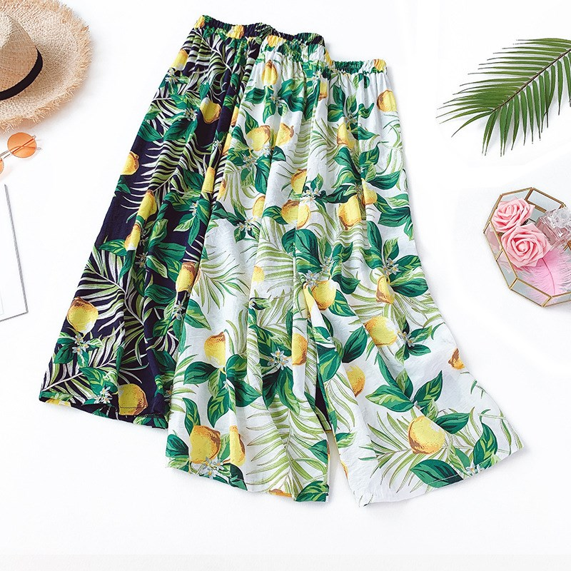 Summer Women Flower Print Long   Pants   Boho Ladies Loose Cotton Trouser High Waist Casual Wide Leg   Pants