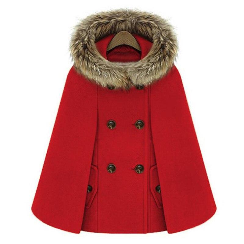 Winter Womens Short Woolen Coat Female Turtleneck Cape Parka Blend Wool Cloak Pullover Poncho 2018 Outerwear Casaco Faux Fur