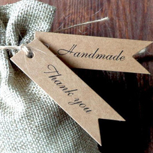 100pcs/Lot Handmade Hang Tag Kraft Paper Thank You Gift Label For Wedding Party Products Tagging Package
