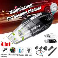 4 in 1 Car Portable Vacuum Cleaner Pump With Multifunction 12V 120W 4000mPA with Smart Digital Tire Inflator Pump Pressure Gauge