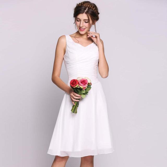 sports shoes d24e6 46fa7 AL'OFA Frauen Hochzeit Kleid Chiffon V ausschnitt Brautjungfer Pailletten  Perlen Knie länge Weiß Kleider Party