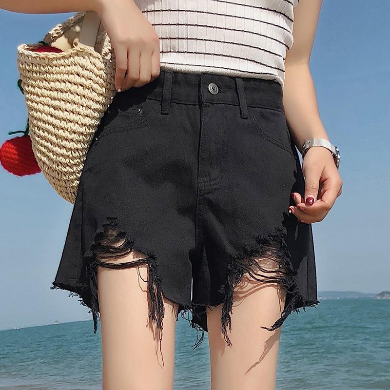 Harajuku Denim Shorts For Women 2019 Summer High Waist Ripped Hole Shorts With Tassel Pockets Mini Short Jeans