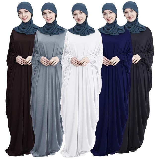 Abaya Muslim Women Long Dress Jilbab Kaftan Bat Sleeve Casual Loose Arab Maxi Robe Islam Solid Color Gown Prayer Clothes Garment