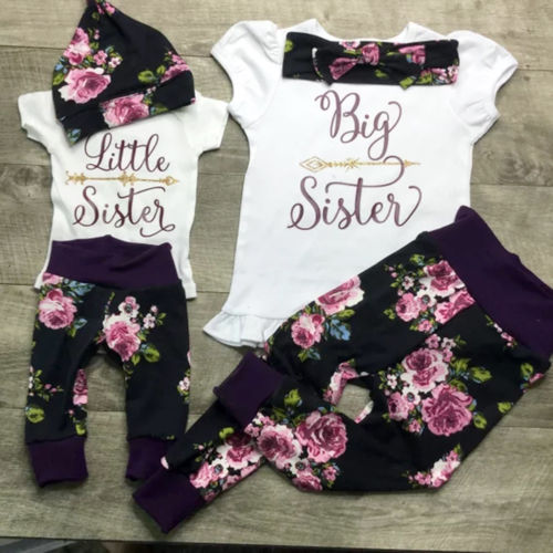 Newborn Baby Little//Big Sister Romper T-shirt+Pants Leggings Clothes Outfit Set