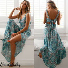 Women  Sexy Maxi Summer Vestido Long Boho Dress Evening Elegante Bohemian style Chiffon Beach Dresses