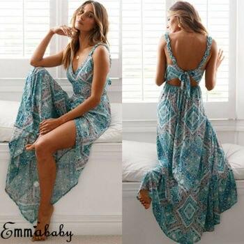 Women  Sexy Maxi Summer Vestido Long Boho Dress Evening Elegante Bohemian style Chiffon Beach Dresses
