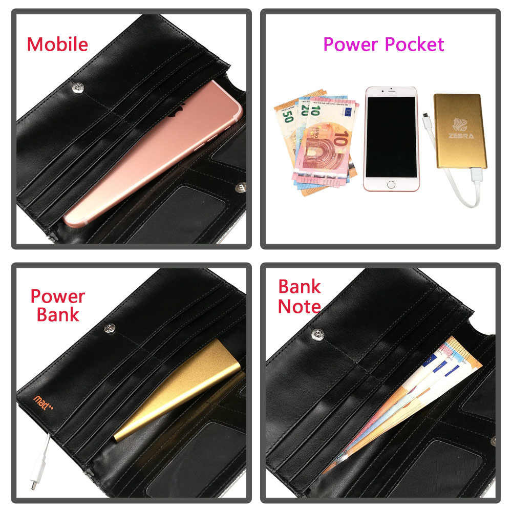 Glitter Women Long Fashion Wallets And Purses Ladies Clutch Coin Wallet Power Bank Pocket Charger Pouch For Girls Luxury Brand