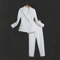 Women's Pantsuit Double Breasted Office Lady Blazer Set With Trousers Solid Long Sleeve Female Clothes Casual Slime Suit Jacket