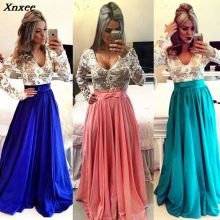 Xnxee Women Dresses 2019 New Arrival Beading Elegant Party O-Neck Full Sleeve Lace Fashion Long Dress Sexy