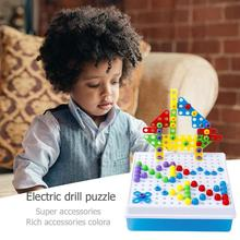 Детские электрические сверла, гайка, инструмент для разборки, развивающие игрушки, сборные блоки, наборы, дизайнерские строительные игрушки для детей, подарки