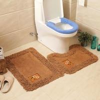 2pcs/Set Bath Non Slip Cotton Mat Toilet Contour Cover Rug Bathroom Floor Mats