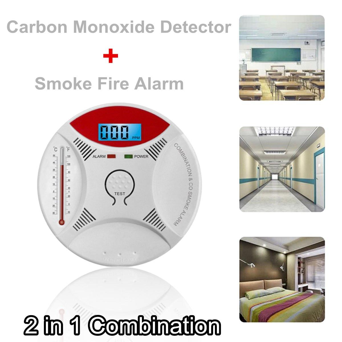 2 en 1 LED alarme de gaz numérique Co monoxyde de carbone détecteur de fumée voix CO avertir capteur Protection de sécurité à domicile haute sensibilité