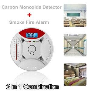 2 in 1 LED Digital Gas Alarm Co Carbon Monoxide Smoke Detector Voice CO Warn Sensor Home Security Protection High Sensitive