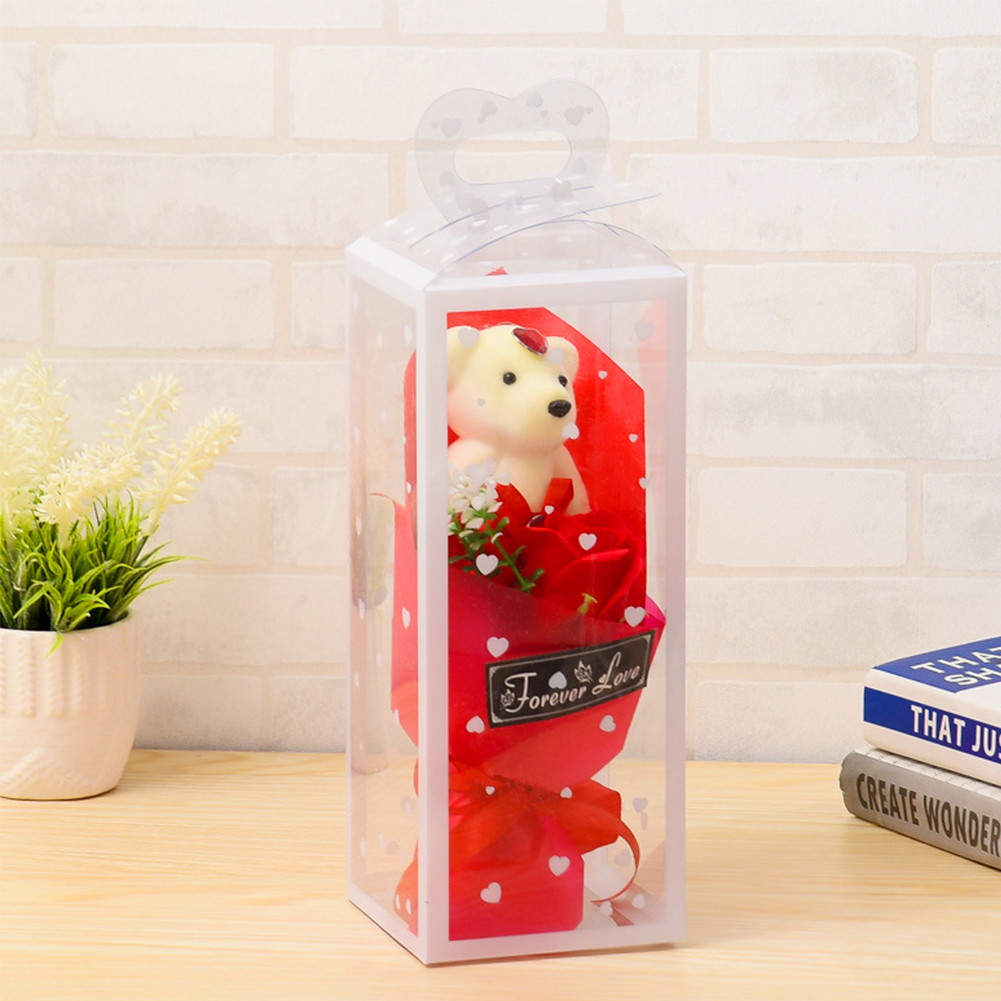 Soap-Flower Packing-Box Wedding Bear with 2pcs Birthday Valentine's-Day-Gift