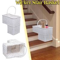 White Woven Wicker Stair Step Basket Organizer Stylish Cosmetic Box with Handle Container Storage Clothes Children Toys Home