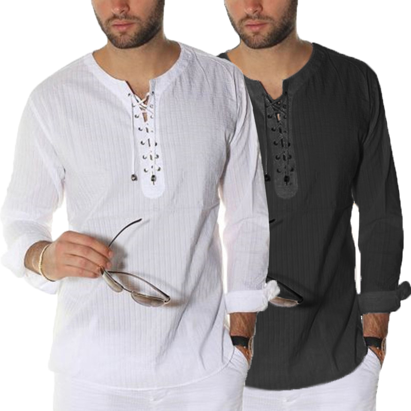 INCERUN Elegant Style Mens Shirts Dress Long Sleeve Lace Up Tunic Casual Loose Fit Tops T-shirts Plus Size S-3XL