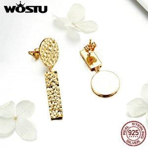 Image 3 - WOSTU Trendy Women Earrings 2019 Individual Geometric Gold Round Stud Earrings For Women 925 Sterling Silver Jewelry Gift CQE533