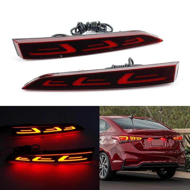 Multi-fonction LED réflecteur lampe arrière brouillard lampe pare-chocs feu stop lumière clignotant pour Hyundai accent Solairs 2017 2018