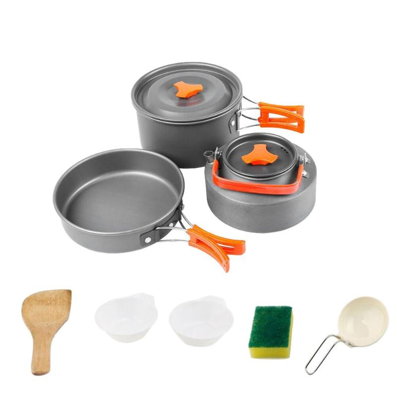 Campcookingsupplies Have An Inquiring Mind 8pcs/set Camping Cookware Bowl Pot Spoon For Outdoor Hiking Backpacking Outdoor 2-3 Persons Picnic Barbecue Tableware Portable To Ensure Smooth Transmission Camping & Hiking