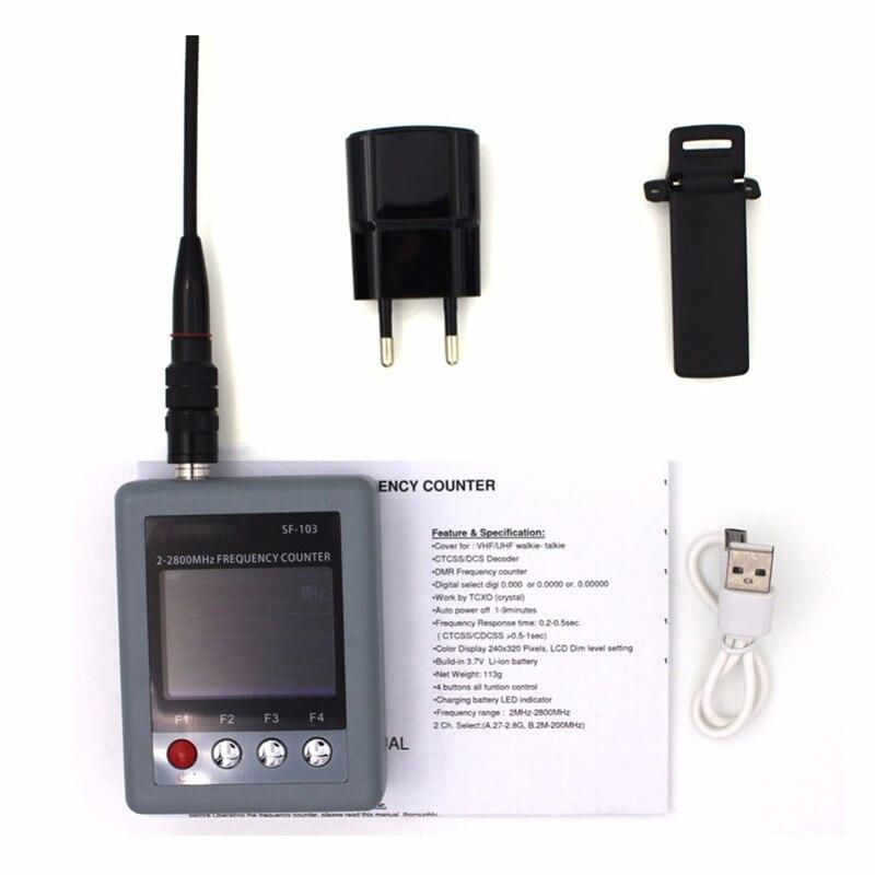 SF103 2 MHz-200 MHz/27 MHz-2800 MHz portátil Walkie Talkie contador de frecuencia CTCCSS/DCS señal Digital DMR Testable nuevo