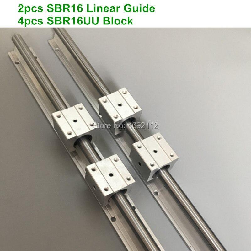 Livraison gratuite: 2 pièces SBR16 16mm rail linéaire n'importe quelle longueur support rond rail de guidage + 4 pièces SBR16UU bloc coulissant pour CNC pièces
