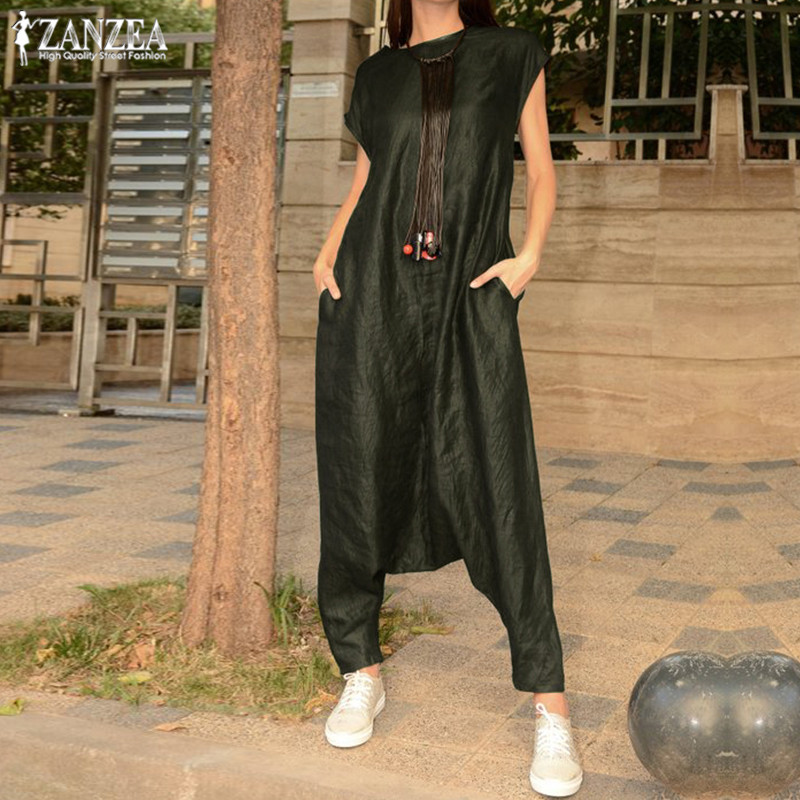 Plus Size Overalls Women's Drop Crotch   Jumpsuits   2019 ZANZEA Summer Cargo Pants Palazzo Female Short Sleeve Rompers Playsuits
