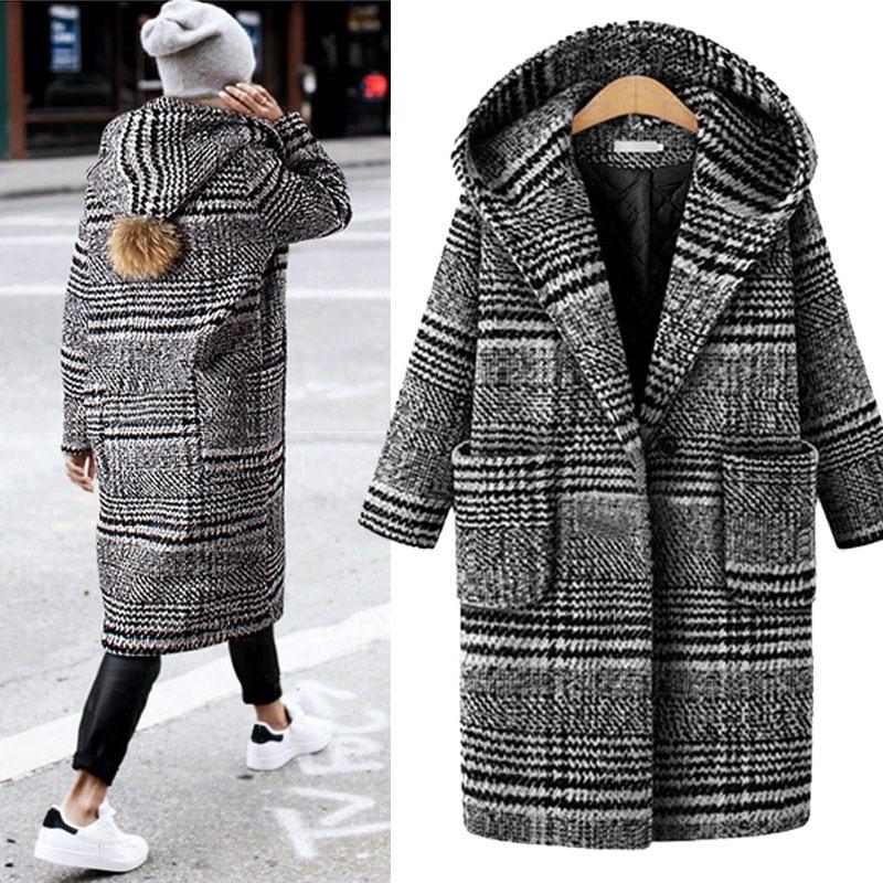 e5628f2467ca Mode Plus Long Plaid De Taille Casual Vestes La Femelle Laine Outwear Tweed  Mélange Hiver Manteau Femmes 5q0ESaS