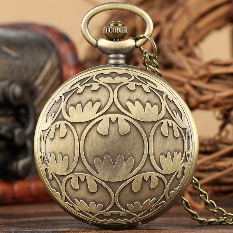 Retro Bronze Batman Design Pocket Watch Necklace Copper Pendant Fob Clock Male Hours Souvenir Gifts For Men Women Collectibles
