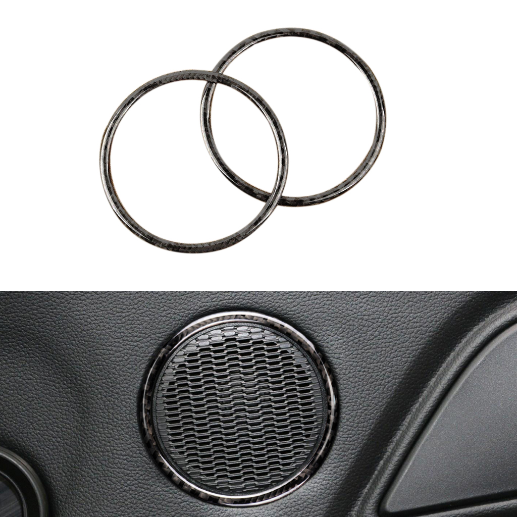 Image 3 - For Ford Mustang 2015 2016 2017 2pcs Carbon Fiber Car Interior Door Audio Speaker Ring Strip Decor Cover-in Interior Mouldings from Automobiles & Motorcycles