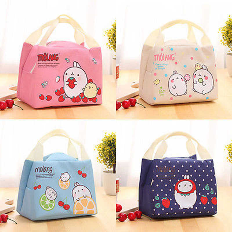 Brand New Style Childrens Kids Lunch Bags Insulated Cool Bag Picnic Bag School Lunchbox Pink Blue