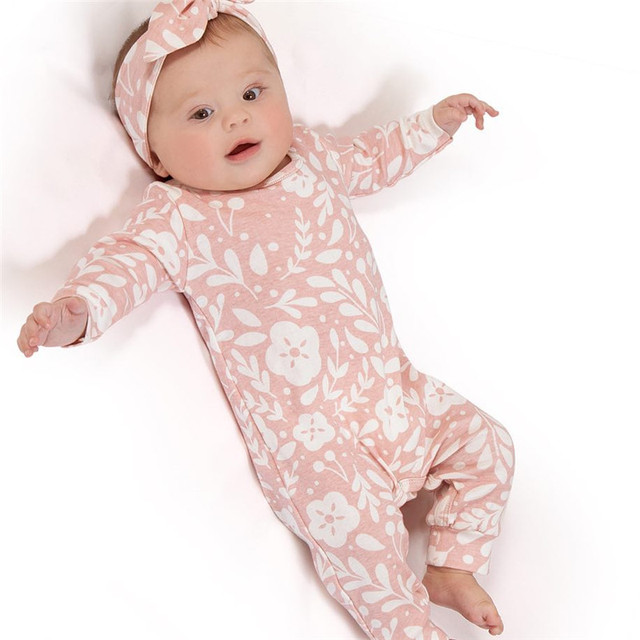 Pudcoco2019 New Brand Newborn Baby Girls Floral Romper Jumpsuit Headband Outfits Clothes Set