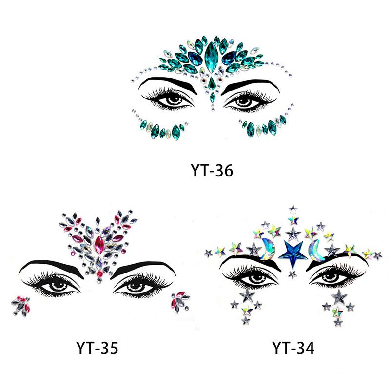 Acrylic Face Rhinestone Sticker For Women Environmental Protection Shiny Bright Strass Face Decoration Costume Party 3 Colors