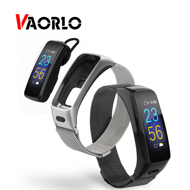 VAORLO Smart Wristband Smart Talk Bluetooth Earphone Handsfree Wrist Band Bracelet Fitness Tracker Heart Rate Band