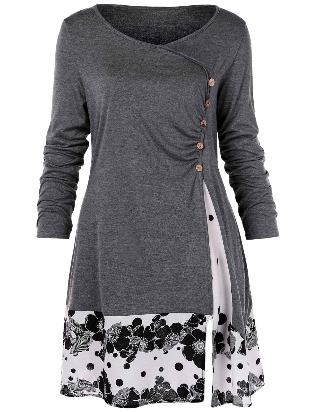 Wipalo PLUS ขนาด Draped ดอกไม้ Tunic เสื้อยืด Scoop คอยาวแขนยาวปุ่ม Embellished Casual ฤดูใบไม้ร่วงผู้หญิง TEE ขนาดใหญ่ด้านบน 5XL